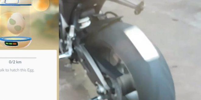 amarraram um S7 na roda da moto para chocar pokémon
